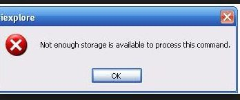 "Solution of ""Not enough storage is available to process this command"""
